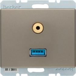 3315399011 USB/audio 3,5 mm mini-Jack WCD,  berker Arsys,  alu (brons)