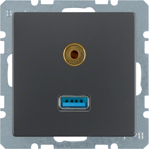 3315396086 USB/audio 3,5 mm mini-Jack WCD,  berker Q.1/Q.3/Q.7, antraciet