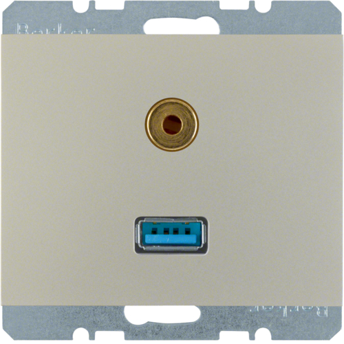 3315397004 USB/audio 3,5 mm mini-Jack WCD,  berker K.1/K.5, edelstaal