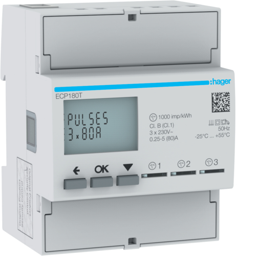 ECP180T kWh-meter 1-fase direct 3x 1-fase 80 A,  4 modulen,  met S0 pulsuitgang